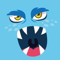 blå monster tecknad design ikon vektor