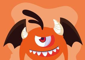 orange Monster Cartoon Design-Ikone vektor