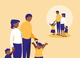söt familj med barn avatar karaktär vektor