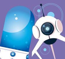 Technologieroboter über lila Hintergrund vektor