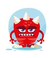 rote Monster Cartoon Design-Ikone vektor