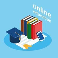 Online-Bildung mit Smartphone und Büchern
