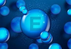 vitamin e blå glänsande molekyl design