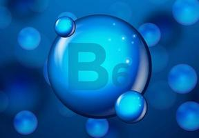 vitamin b6 blå glänsande molekyl design