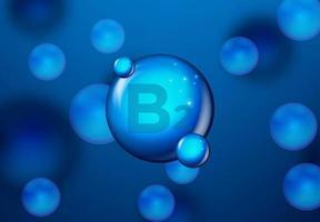 vitamin b2 blå glänsande molekyl design