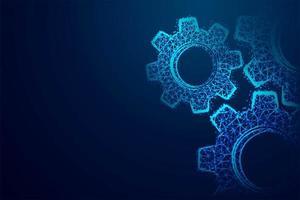 glödande månghörnigt blå kugghjul trådramdesign vektor