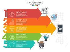 5 steg infographic designmall med pilar och ikoner vektor