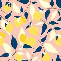 Zitronen und Blumen nahtloses Muster vektor