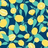 Zitronen und Blätter nahtloses Muster vektor