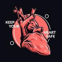 Schützen Sie Ihr Herz T-Shirt Design vektor