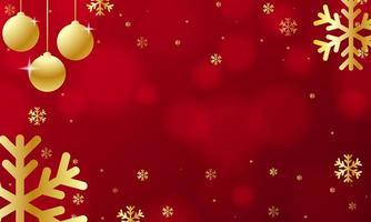 goldene Weihnachtsschmuck und Schneeflocken auf rotem Bokeh
