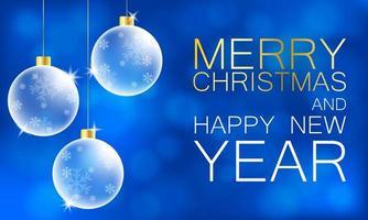 hängende Weihnachtsschmuck und Text auf blauem Bokeh vektor