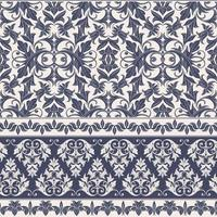 vintage blå damast sömlösa mönster