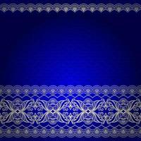 indiskt blått och guld dekorativt kantmönster