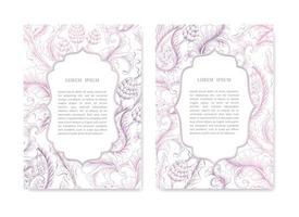 Satz dekorative Hochzeitskarten vektor
