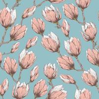 handritad magnolia sömlösa mönster vektor