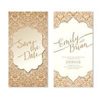Gold verziert speichern das Datum Hochzeitskarte