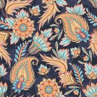 blaues und gelbes nahtloses Paisley-Muster vektor