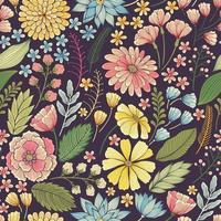 sömlös färgglad blommig sommar mönster