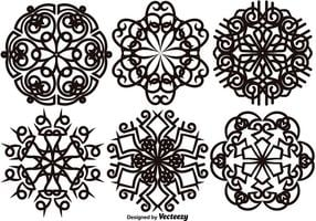Vector Set Von Eleganten Schneeflocken