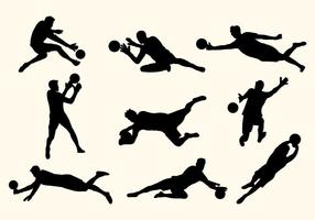 Set of Goal Keeper Silhouettes vektor