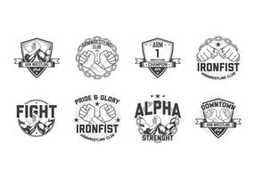 Gratis Arm Wrestling Badge Vector