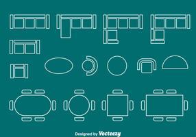 Grundriss Element Stuhl und Tisch Vektor