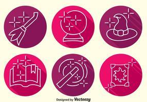 Hogwarts Element Line Icons Vektor