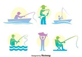 Fischen Fisch Bunte Icons Vektor Set