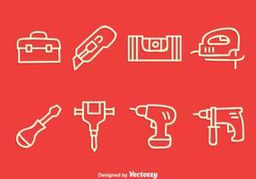 Bau-Werkzeuge Line Icons Vector