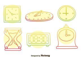 Bunte Hand gezeichnete Uhr Vektor Set