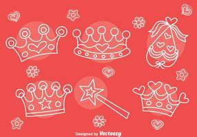 Handdragen Queen Pageant Element Vector