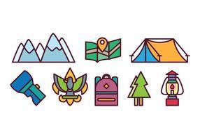 Freies Camping Icon Set vektor