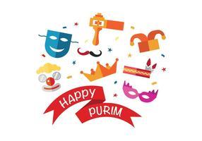 Roliga Happy Purim Vector Ikoner