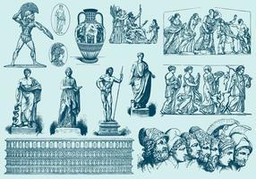 Blå grekiska konstillustrationer