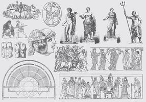 Grå grekiska konstillustrationer