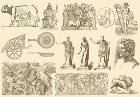 Sepia Griechische Kunst Illustrationen