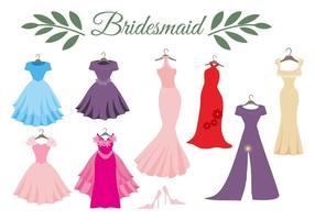 Freies Hochzeitskleid Brautjungfer Vektor