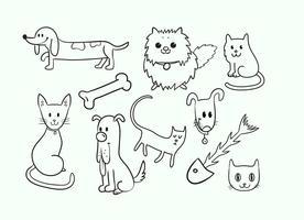 Söt katt och hund vektorer