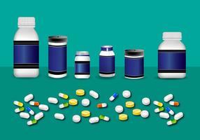 Pill Box Botlte Mockup Vektor