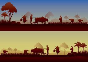Asiatische Landwirt Silhouette vektor