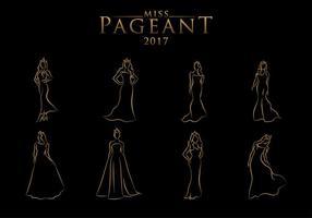 Pageant Line Art kostenloser Vektor