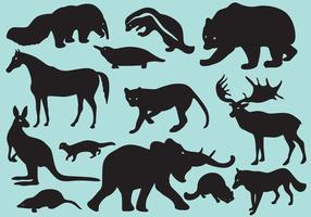 Wild Silhouette Däggdjur vektor