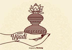 Freie glückliche Ugadi-vektorkarte vektor