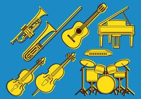 Orkester musikaliska ikoner vektor