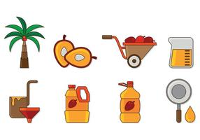 Set av Palm Oil Icons vektor