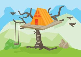 Träd hus vektor illustration