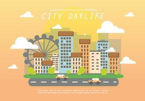 Flat City Daylife Vector Bakgrund