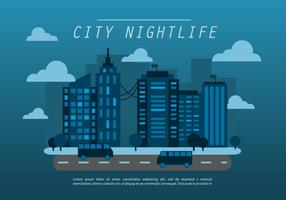Midnatt blå platt stadsbild vektor bakgrund