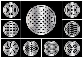 Manhole täcker cirkel vektor uppsättning